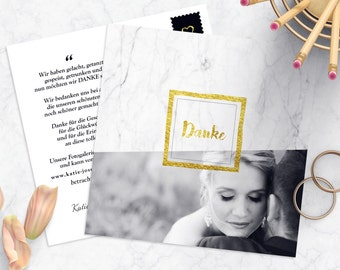 Marble Danksagung card wedding | Marble & gold look. Personalization and printing