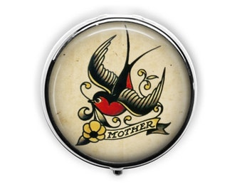 Tattoo pill case Mother pill box mother's day gift for mother sailor jerry retro tattoo bird container.
