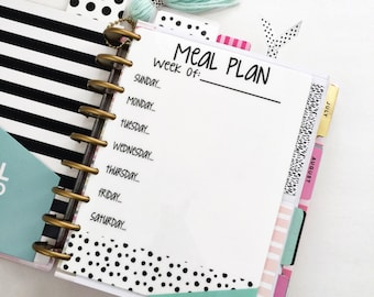 CLASSIC Happy Planner Meal Planner, dry erase Planner Insert, wet erase, meal planner, Happy Planner Dashboard, Planner Insert