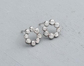Circle earrings - pebble studs - pebble earrings - silver studs - silver circle studs - bobble studs