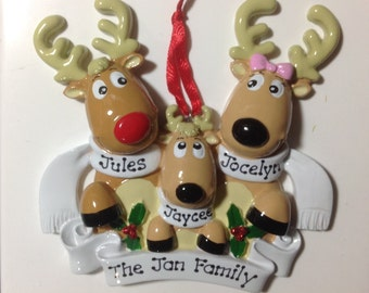 33 % Off Reindeer Personalized Christmas Ornament- New Parents, Family Of three, Grandparents