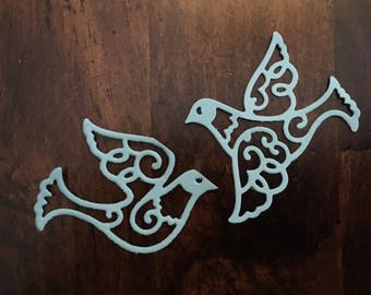 Blue die cut set of doves