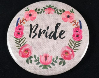 Bride and Team Bride Rustic Wedding Buttons | Bachelorette Bridal Party Favors | Burlap & Watercolor Flowers | Custom 3 Inch Pinback Button