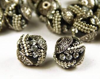 5 Pcs - 15x15mm Handmade Kashmiri Beads - Indonesia Beads - Spacer Beads - Jewelry Supplies