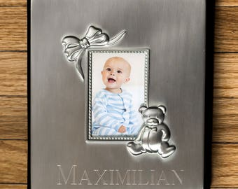 Engraved Silver Baby Photo Album, baby gift, personalized, baby shower gift, newborn baby, picture album, keepsake -gfyM000110