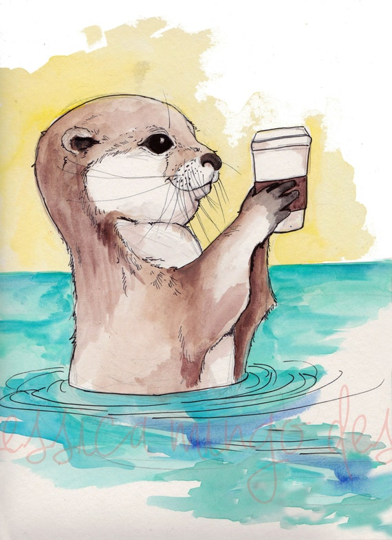 River Otter and His Latte Otter Print Otter Art Nursery
