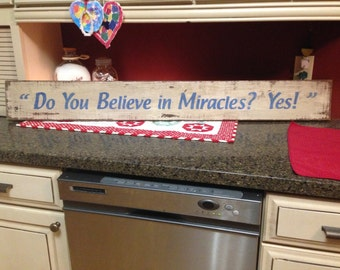 Do You Believe In Miracles? Yes! Herb Brooks USA Hockey Olympic Gold Medal Game vs Russia Al Michaels Rustic Sports Sign Gift