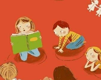Kids cotton fabric American Kinder - class ochre background - 50 cm (110 x).