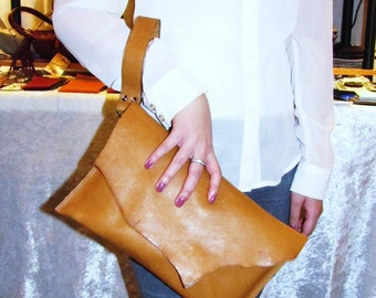 Tan leather letter clutch, natural tan leather case with raw edged, folds over envelope bag - Vintage tan