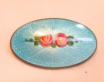 Vintage Enamel Guilloche Sterling Silver Pin / Brooch