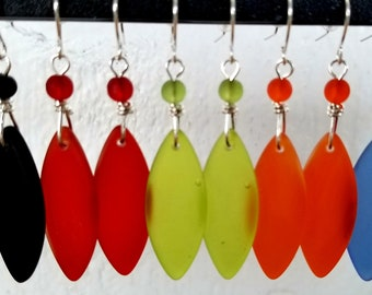 Beach Glass Earrings, lots of colors!