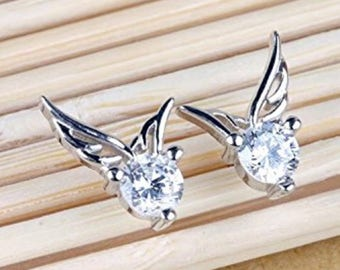 Angel, Silver, Wings, Stud, Earring, Crystal, Sparkle, Delicate, Tiny, Wing, Bird, Birthday, Christening