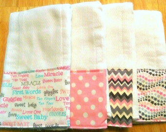 Burp Cloths for Girl, Baby Gift, Baby Shower Gift, Feeding Burp Cloths, Burp Rags, Spit Rags, Baby Girl Gift