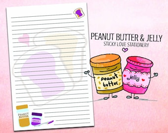 PB & J Stationery, Peanut Butter And Jelly, Food Stationery, Letter Writing Paper, Lined Paper, Planner Paper, Penpals, Best Friend Gifts
