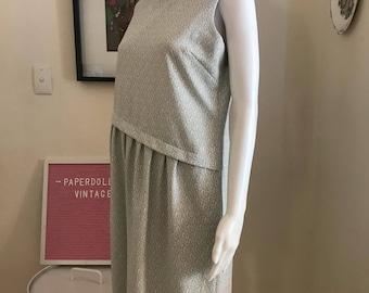 1960s silver and white asymmetrical shift midi dress size 12 - 14