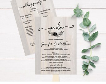 Rustic Wedding Programs, Wedding Program fans, Rustic Wedding Program Template, Personalized Wedding Program, Custom Wedding Program  C4