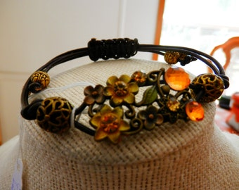 Leather and Amber Bracelet