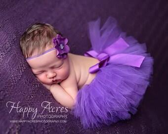 PURPLE TUTU....newborn tutu, baby tutu with matching headband, newborn photography ....birthday tutu