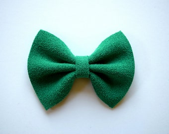 Green Suede Leather Baby Headband Christmas Holiday Bow for Newborn Baby Child Little Girl Adult Adorable Photo Prop Clip