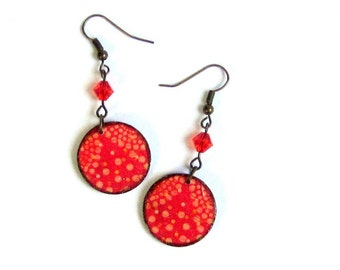 Red Decoupaged Earrings Lightweight Circle Dangle Swarovski Crystal Summer Jewelry Gifts for Her