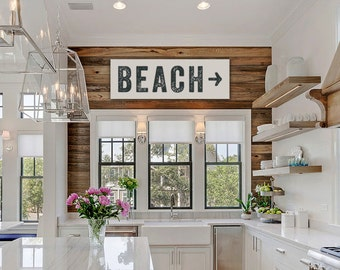Beach Sign Arrow Large Canvas, Beach House Decor, Fixer Upper Decor, Joanna  Gaines
