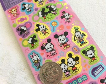 Kawaii Japan Sticker Sheet Assort: Disney Holographic Mickey Minnie BUBBLEGUM Doodle Japanese Kawaii Exclusive Stylized Candy Sweets Cute Z