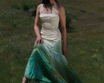 green wedding dress etsy