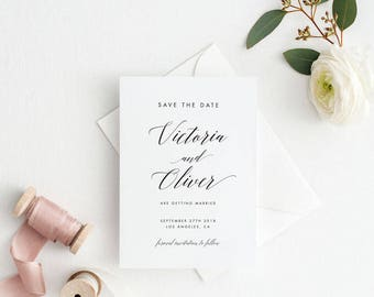 Printable Save The Date Printable - Modern Romantic Calligraphy Wedding Save the Date PDF - Letter or A4 Size (Item code: P463)