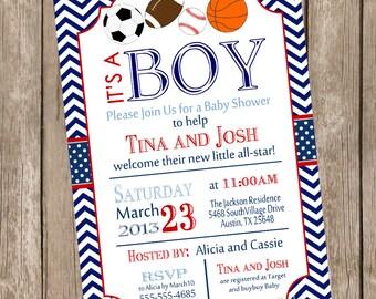 All Star Sports Baby Shower Invitation, football, soccer, baseball, basketball, red, navy, chevron, printable invitation