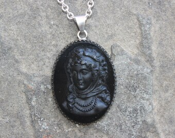 Vintage Black Cameo Pendant on Sterling Silver Chain