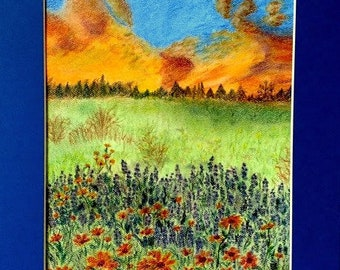 Pastel Painting, Prairie, Wildflowers, Sunrise, Lavendar, Original painting