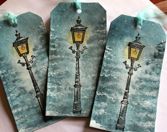 Large Handmade Narnia/Christmas Lamp Post Gift/Place Tags, Set of 5