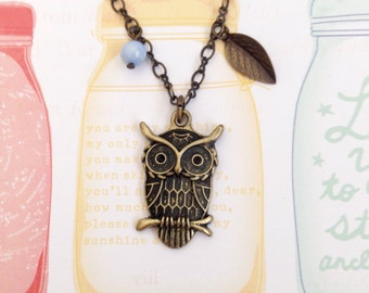 Kawaii Owl Antique Brass Necklace, Owl Necklace, Cute Necklace, BFF Gift, Kawaii Necklace, Cute Gift, Christmas Gift, Birthday Gift