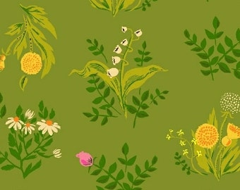 "End of Bolt, Bouquet in Green Cotton Lawn Fabric from the Sleeping Porch Collection by Heather Ross for Windham Fabrics 25""x44"""