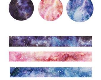 Cosmos Washi Tape, Set of 3 Colorful Night Sky Washi Tape, Marble Washi Tape, Starry Sky Washi Tape, Galaxy Washi Tape Set, Kawaii Washi