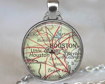 University of Houston necklace, UH pendant UH Cougars Houston Texas map college student alumni gift graduation gift key chain key ring fob