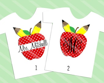 Teacher Apple Monogram or Name Digital Download for iron-ons, heat transfer, Scrapbooking, Cards, Tags, Signs, DIY, YOU PRINT