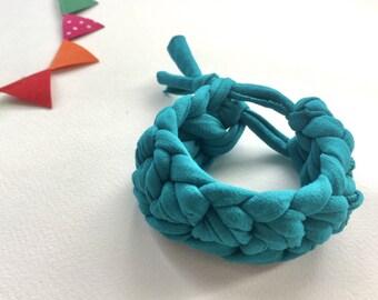 Teal bracelet -Teal T-shirt yarn bracelet - Gift for her - Teal crochet bracelet - Teal bracelet - Teal cuff - Bright teal