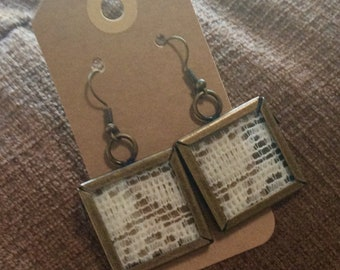Antique Brass and Glass w/Lace Earrings