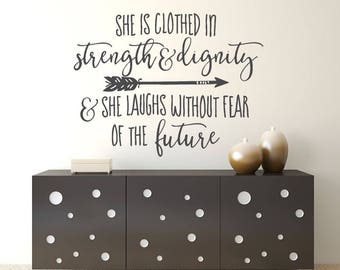 Bible Verse Wall Art- Black - Wall Art - She is Clothed in Strength and Dignity