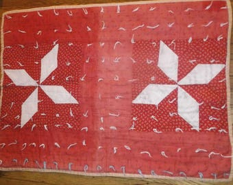 Primitive antique Civil war era doll quilt pinwheel red & white hand tied quilt~AAFA