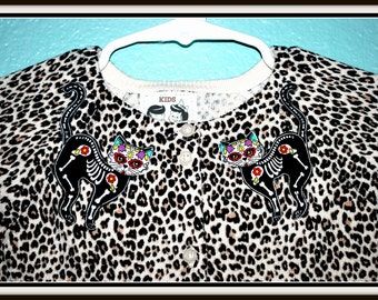 Girls Rockabilly Leopard Cardigan with Skeleton Cats....size 18-24 months