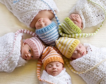 NeWBORN Baby Knit Hat Boy Girl BaBY PHoTO PRoP Stripe Stocking Cap PaSTeL MuNCHKiN Beanie CoMiNG HoME Hat Twin Triplet Quint CHooSe CoLOR