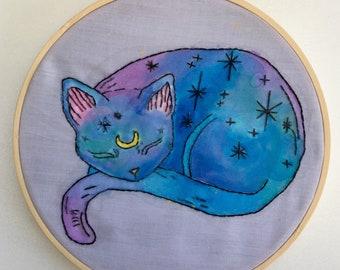 Cosmic sleepy cat - water colour - hand embroidery - 7 inch hoop