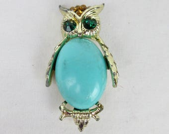 Vintage Mid Century Owl Brooch, Pin / Jelly Belly Cabochan / Citrine Rhinestones / Turquoise Lucite / Gold Tone Jewelry / Mothers Day Gift