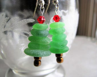 Christmas Tree Earrings - Holiday Tree - Beach Glass - Stacked Sea Glass Earrings -Ocean Jewelry Gifts