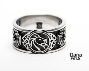 Celtic Lion band in Sterling Silver