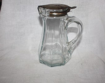 Vintage Early 1900's Heavy Glass Syrup or Creamer Dispenser Metal Lid