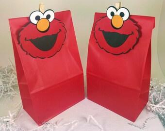 Elmo Treat Bags, Elmo Party Favors, Elmo Birthday Party, Sesame Street, Elmo Decor, Elmo Favor Bags