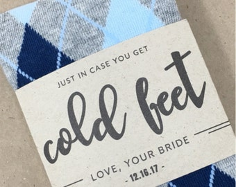 Gift for Groom from Bride | Just In Case of Cold Feet Sock Label with Wedding Date | Wedding Day Gift for Groom | Custom Sock Labels